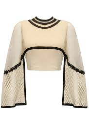 off white cutwork bell sleeves crop top available only at pernia u0027s