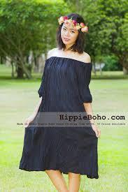 no 7 xs 5x hippie boho bohemian gypsy black peasant tunic plus