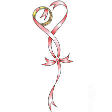 red and pink ribbon creating a love life loyalty tattoo design