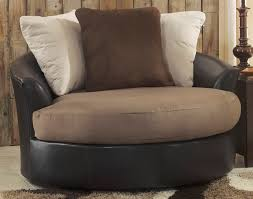 Oversized Swivel Rocker Recliner Furniture Faux Leather Oversized Round Swivel Chair With Pillows