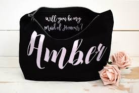 bridal party makeup bags will you be my bridesmaid gift make up bag personalised cosmetic