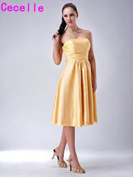 informal wedding dresses yellow bridesmaid dresses simple a line knee length informal