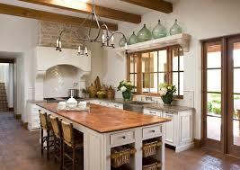 Mediterranean Kitchen Cabinets - reclaimed wood countertops mediterranean kitchen palm design