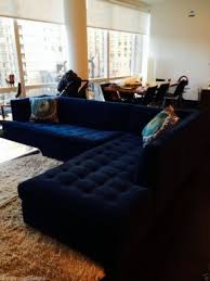 Navy Blue Sectional Sofa 6500 Mitchell Gold Navy Blue Velvet Button Tufted