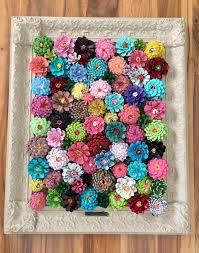 framed flower decor made from pine cones crafty morning