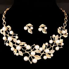 earring necklace sets images Golden pearl necklace set with earring jpg