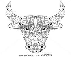 head bull coloring book adults vector stock vector 457166281
