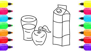 apple and juice coloring pages and drawing art colors for kids