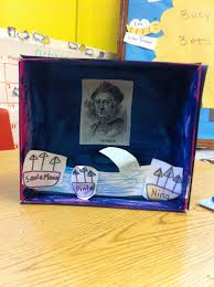 christopher columbus diarama shoe box paint inside blue
