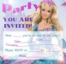 Birthday Card Invitations Templates Barbie Party Invitations Template Best Template Collection