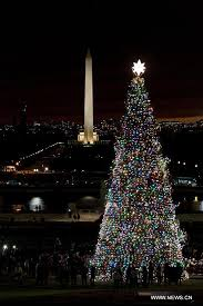 tree lit on west front lawn of u s capitol in