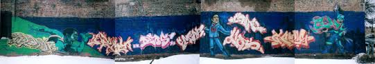 mural portfolio five medium spray paint on brick wall size 10ft x 86ft location chicago il date 2004 content explanation this was a graffiti mural