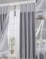 Curtains 80 Inches Long Polyester Ready Made Long Curtains In Gray For Living Room