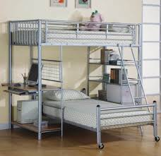 Beds With Bookshelves by Bedroom Modern Silver Metal Loft Bed With Desk Also Bookshelves