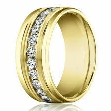 Mens Gold Diamond Wedding Rings by 8mm 14k Yellow Gold Men U0027s Diamond Eternity Wedding Band