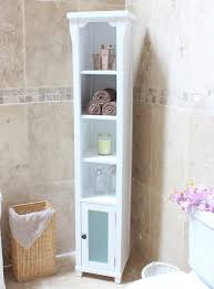 Tall Bathroom Storage Cabinets With Doors by Tall Solid Wood Bathroom Cabinet Made From Ash And Painted White