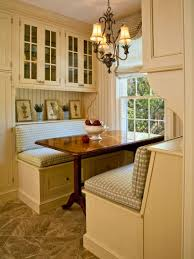 kitchen white stained wood corner nook table with storage bench