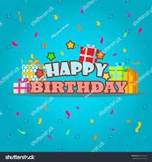 happy birthday greeting card template gift stock vector 687532915