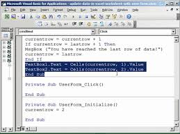 how to update excel worksheet data with userform youtube