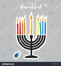 hanukkah candles colors colorful happy hanukkah greeting card stock vector