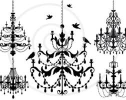 Black Chandelier Clip Art Vintage Chandelier With Birds And Birdcage Lamp Clipart
