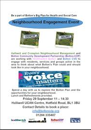 neighbourhood engagement event halliwell u0026 crompton bcdp