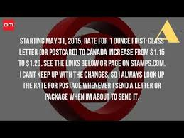 how much does it cost to mail a letter from canada to the united