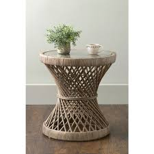 Rattan Accent Table East At S Shively Brown Transitional Rattan Accent