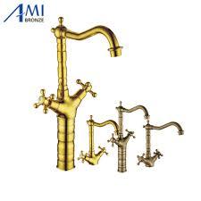 Antique Brass Kitchen Faucets For Bellevue Bridge Kitchen Faucet With Brass Sprayer Lever
