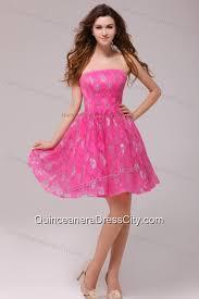hot pink dress a line hot pink strapless knee length dresses for dama 132 69