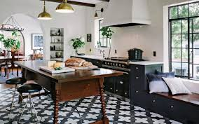 inspiration spanish black and white encaustic tile floor shelf