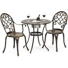 Copper Patio Table Cast Aluminum Patio Bistro Set W Chairs Copper