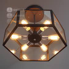 deckenle esszimmer industrie loft edison fan retro glas box deckenleuchte eisen le