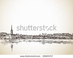skyline sketch stockholm water reflection hand stock vector