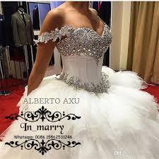 luxury white crystals cascading ruffles wedding dresses 2017 ball