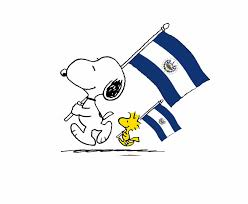 snoopy and woodchuck carrying the el salvadorian flag el