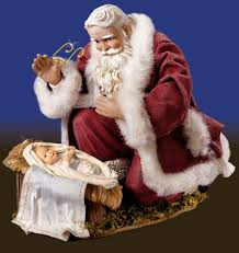 santa kneeling at the manger it s time to stop confusing santa with jesus united methodist