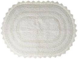 Oval Bath Rugs Shabby Chic Decor Cotton Crochet Large Oval Bath Rug 21 X 34