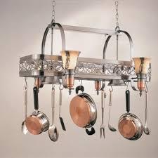 kitchen island with pot rack hi lite manufacturing h 10y d 14 wht ody satin steel satin copper