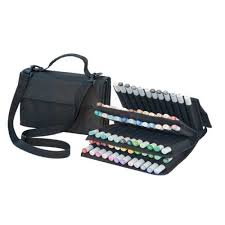 copic empty wallet black velcro marker case for 72 markers