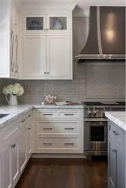 white kitchen cabinets with backsplash images classic white kitchen with grey backsplash home bunch