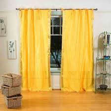 Tie Top Curtain Panels White Silver Tie Top Sheer Sari Curtain Drape Panel Pair