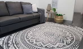 Rugs Modern Industry Mandala Grey And White The Rug
