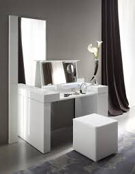 Wooden Girls Vanity Teenage White Wooden Make Up Table And White Leather Upholstered