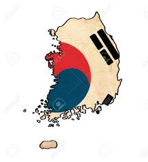 Korea Flag Image South Korea Map On South Korea Flag Drawing Grunge And Retro