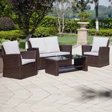 Rattan Patio Table And Chairs 4 Piece Algarve Rattan Sofa Set For Patios Conservatories And