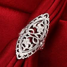 large silver rings images Women 39 s large silver flower rings love for women vintage big jpg