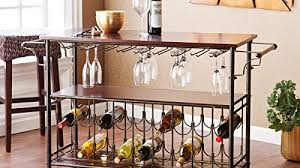 Kitchen Cart With Storage by Bar Cart With Glass And Bottle Support Metal Kitchen Cart Rolling