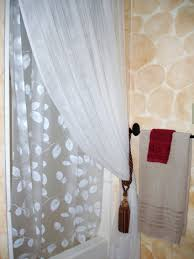 ruffled double swag shower curtain with valance tie backs light