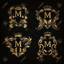gold monogram set of gold monogram for graphic design on black background